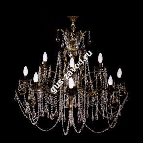 Подвесная люстра Изабелла Богиня 12 ламп 2-х ярусная бронзовая
