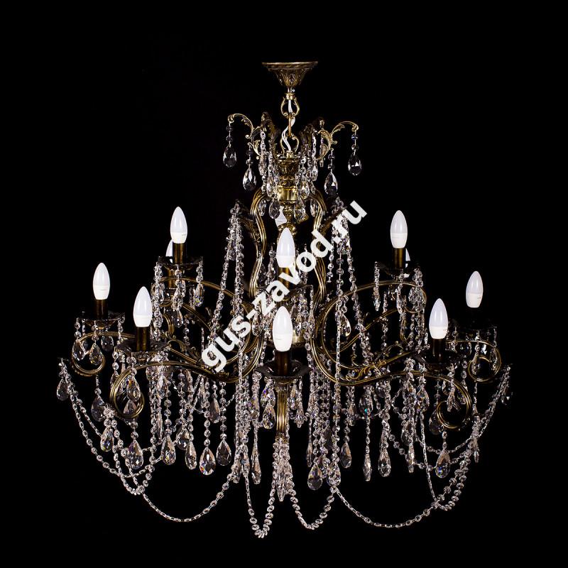 Люстра Изабелла Богиня 12 ламп 2-х ярусная бронзовая