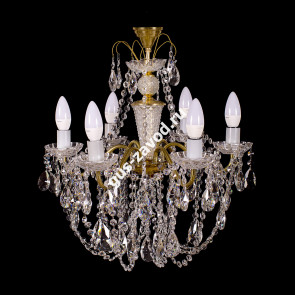 Подвесная люстра Виктория журавлик 6 ламп латунь